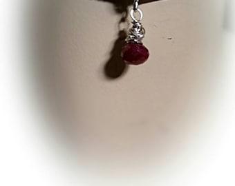 Genuine Ruby Kiss Sterling Silver Handmade Birthstone Dangle Choker on Velvet Ribbon