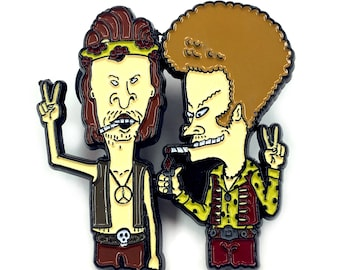 Beavis and Butthead Hippie Enamel Pin Heady Festival 420 Weed Stoner Hat and Lapel Badge