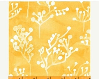 SALE Yellow Seaside Plants - Windham Fabrics - Sunnyside - 1/2 Yard - Batik Style - Yellow White - Sherbert Yellow - Sara Franklin - 40663-2