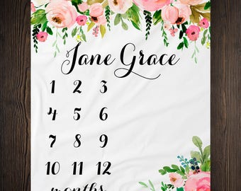 Girl Milestone Blanket Month Growth Tracker Minky Fleece Blanket Custom Personalized Baby Shower Gift Watercolor Floral Newborn