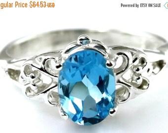 On Sale, 30% Off, Swiss Blue Topaz, 925 Sterling Silver Ring, SR302