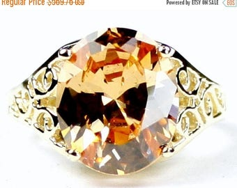 On Sale, 30% Off, Champagne CZ, 14KY Gold Ring, R057