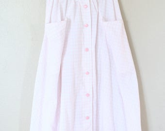 vintage pink & white checked snap button down pocket skirt