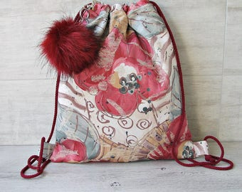 Poppy Drawstring Backpack with Fur Pom Pom, Small Bag For Girls. Gift for her