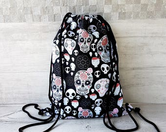 Black Waterproof Backpack, Goth Bag, Skull Drawstring sack Men, Gothic Purse Handmade