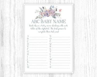 ABC Baby Name game, Printable Party Games, Baby Shower Game - Purple and Gray Watercolor, Floral, 5x7 size