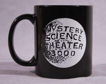 MST3K Moon Logo Coffee Mug - Black Ceramic 11oz - Mystery Science Theater 3000 - Tom Servo Crow and Gypsy