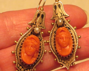 14k gold Antique circa 1870 Victorian Aesthetic carved salmon coral cameo pearl taille d'epargne black tracery enamel earrings