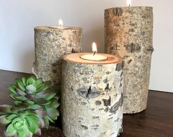 Rustic Branch Tea Light Candle Holders - Set of Three / Wedding Centerpiece