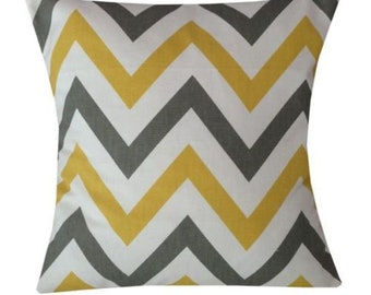 Designer handmade chevron zigzag mustard grey geometric interior cushion  16 , 18 , 20 , 22 , 24 ""