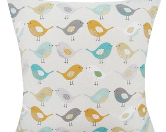 Designer handmade scandinavian spring blue mustard birds interior cushion cover  16 , 18 , 20 , 22 , 24 ""