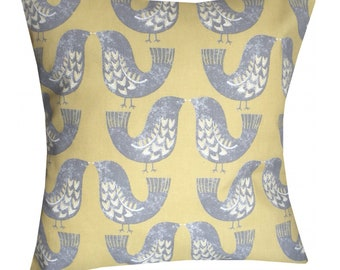 Designer Mustard Grey Bird Scandinavian Nordic Luxury Retro New cushion cover