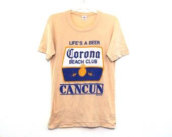 Vintage 80s tshirt corona cancun mexico tourism beer beach