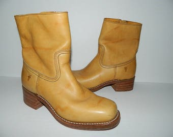 Retro 1980s Light Leather Frye Boots Mens US Size 8-1/2 Ladies US size 10