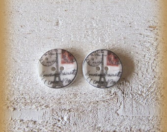 Set of 2 porcelain buttons of 18mm