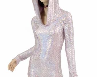 Pink & Silver Mermaid Scale Long Sleeve Hoodie Romper w/Flashbulb Holographic Hood Liner Bodysuit Rave Festival Clubwear Burning Man -151581