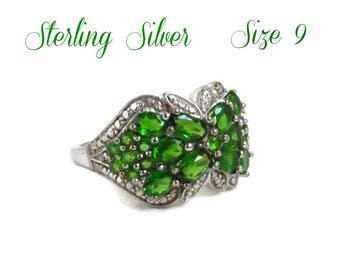 Sterling Silver Cocktail Ring - Vintage Green CZ Butterfly Ring, Size 9, Gift idea, Gift Box, FREE SHIPPING