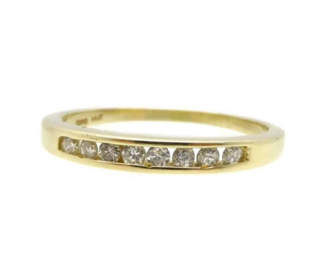 14k Gold Diamond Wedding Band, .16ct SI2 H Vintage Womens Wedding Ring, Size 7