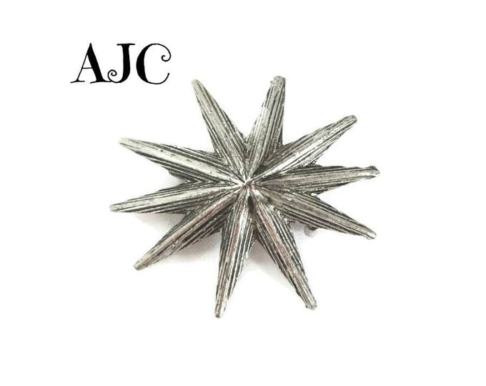 AJC Sunburst Brooch, Vintage Silver Tone Star Pin, Gift for Her, FREE SHIPPING