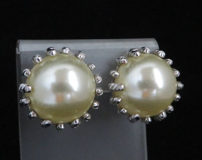 Judy Lee Faux Pearl Earrings | Vintage Button Earrings | Silver Tone Clip-ons | Signed Designer Jewelry