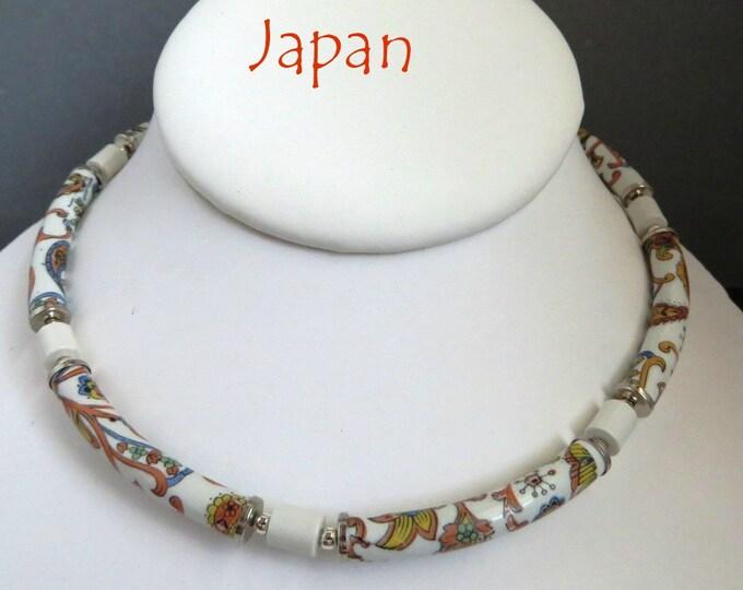 Vintage Japan Flowered Necklace, Tubular Beaded Choker, Multicolor Tube Beaded Necklace