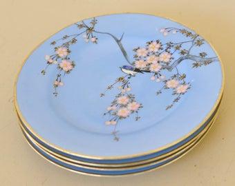 Blue Bird Plates, Japanese Matte Blue China, Cherry Blossoms, Set of 4, Hostess gift