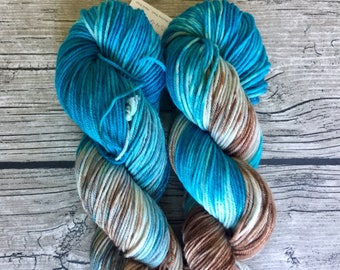 Shark Bait. Hoo Ha Ha. - Hand Dyed Superwash Merino Nylon Yarn - DK Weight Yarn - Hand Dyed Yarn