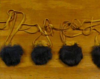 4 Small Blue Rabbit Fur Bags