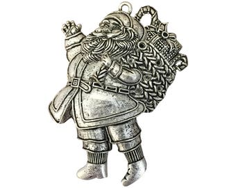 1 Silver Santa Claus Pendant Extra Large Christmas Charm 71x56mm by TIJC SP1613