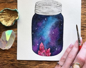 The Universe Inside of You / Galaxy Art / Watercolor Galaxy / Crystal Art