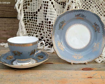 RESERVED to Joven. Set of Vintage Colclough Bone China Made in England A Product of Ridgway Potteries Ltd Grey White and Gold Trio