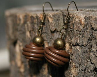 Upcycled jewelry. Brown earrings made of recycled electric cables HONGKONG
