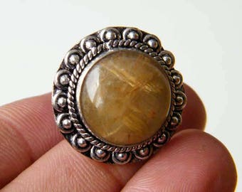 Natural Golden Rutile Ring, Silver Overlay Handmade Ring, Silver Brass Ring, Golden Rutilated Quartz Ring, Size 8 Adjustable Ring SH-6823