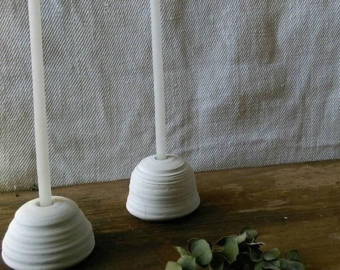 Candle holder ceramic matte white dome