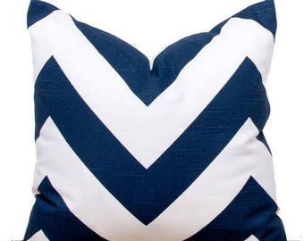 """SALE ENDS SOON Navy and White Pillow, Navy Chevron Pillow Case, Navy Pillows, Navy Couch Cushions, 16 x 16"""""""
