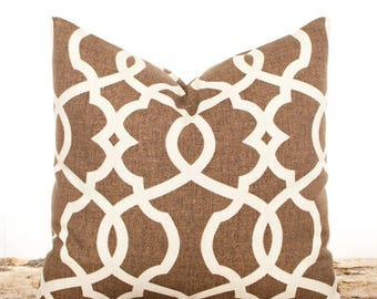 SALE ENDS SOON Brown Throw Pillows And Cream Pillow Covers Lattice Modern