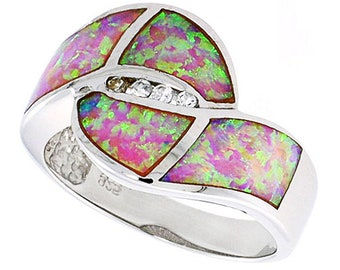Women Silver Rhodium Plated, Pink Simulated Opal Band CZ stone Accents 14mm(DCTopr96p)