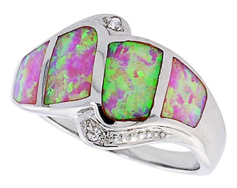 Women Silver Rhodium Plated Pink Simulated Opal Ring CZ stone Accents 14mm(DCTopr65p)
