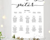 Personalised Printable Wedding Table Plan Downloadable Seating Plan Digital file customisable print Seating Chart