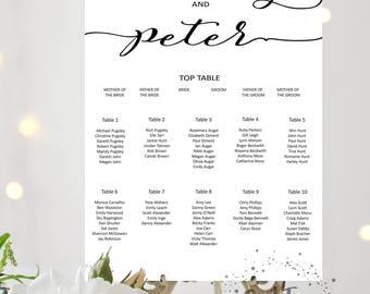Personalised Printable Wedding Table Plan, Downloadable Seating Plan, Digital file, customisable print, Seating Chart