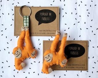 Felt Orangutan Brooch - Orangutan Keyring - Man of the Forest Badge - Jungle Book Pin - Borneo Gift