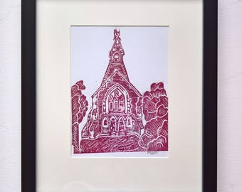 Cherry Worship (Dark Red) A5 Linocut Print