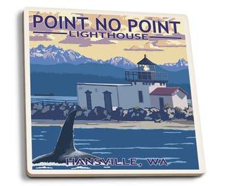Hansville WA Point No Point Lighthouse LP Artwork (Set of 4 Ceramic Coasters)