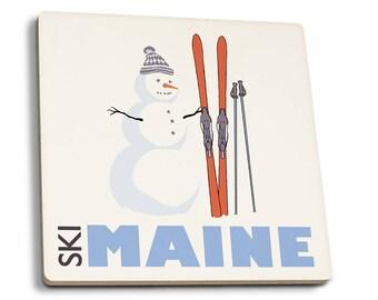 ME - Snowman with Skis - LP Artwork (Set of 4 Ceramic Coasters)