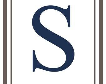 Monogram - Estate - Gray & Blue - S (Art Print - Multiple Sizes Available)