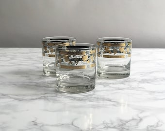 Set of Three Mid Century Gold Rocks Glasses / Gold Grape Vines Rocks Glasses made by Cora / Low Ball Glasses Set of 3