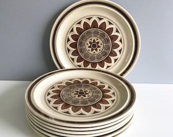 Set of 7 Dinner Plates / Boho 70's Dinner Plates by Omegastone Aztec Pattern/ Boho Dishes