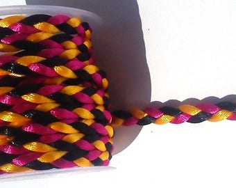 2 meters of cord braided silk multicolored; Black, yellow and pink