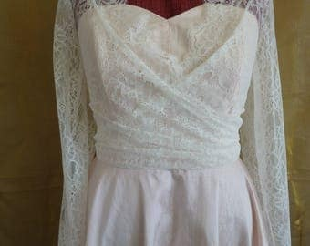 SALE...Ivory crossover lace top for strapless wedding dress, lace bolero, bridal cover up, wedding bodice, ivory lace bodice, lace blouse