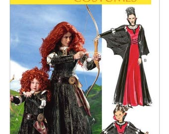6817, McCalls, Miss, Childs, Disney Brave Merida Costume Archer Costume, Vampire Dress, Princess, Medeival, Renaissance, Cosplay, Dress Up,